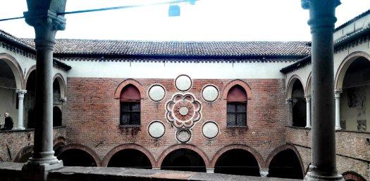 Facciata nel cortile interno di Casa Romei Ferrara